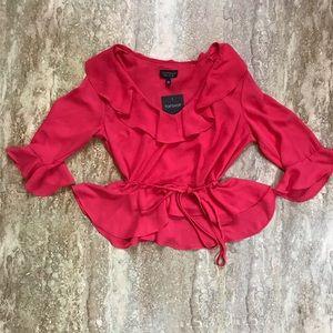 Topshop- pink flutter peplum blouse